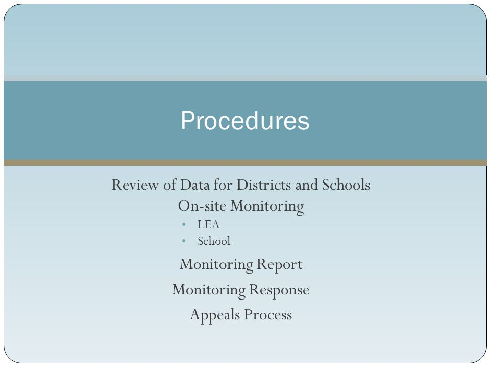Review of Data for Districts and Schools On-site Monitoring LEA School Monitoring Report Monitoring Response Appeals Process Procedures