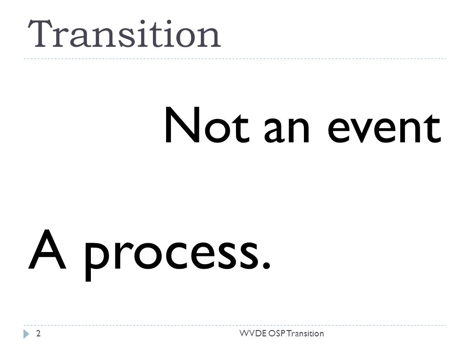 Transition Not an event A process. 2WVDE OSP Transition