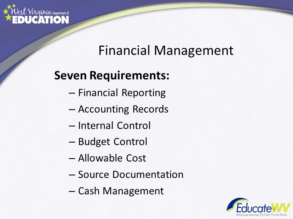Financial Management Seven Requirements: – Financial Reporting – Accounting Records – Internal Control – Budget Control – Allowable Cost – Source Documentation – Cash Management 14