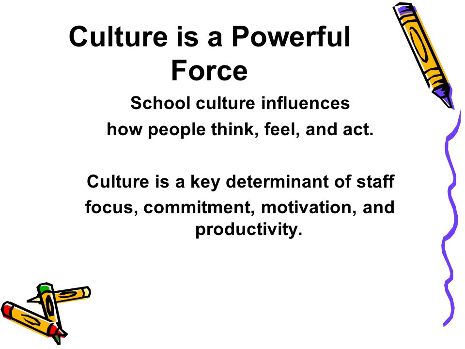 Culture and Effectiveness At a deeper level, all organizations, especially schools, improve performance by fostering a shared system of norms folkways, values, and traditions.