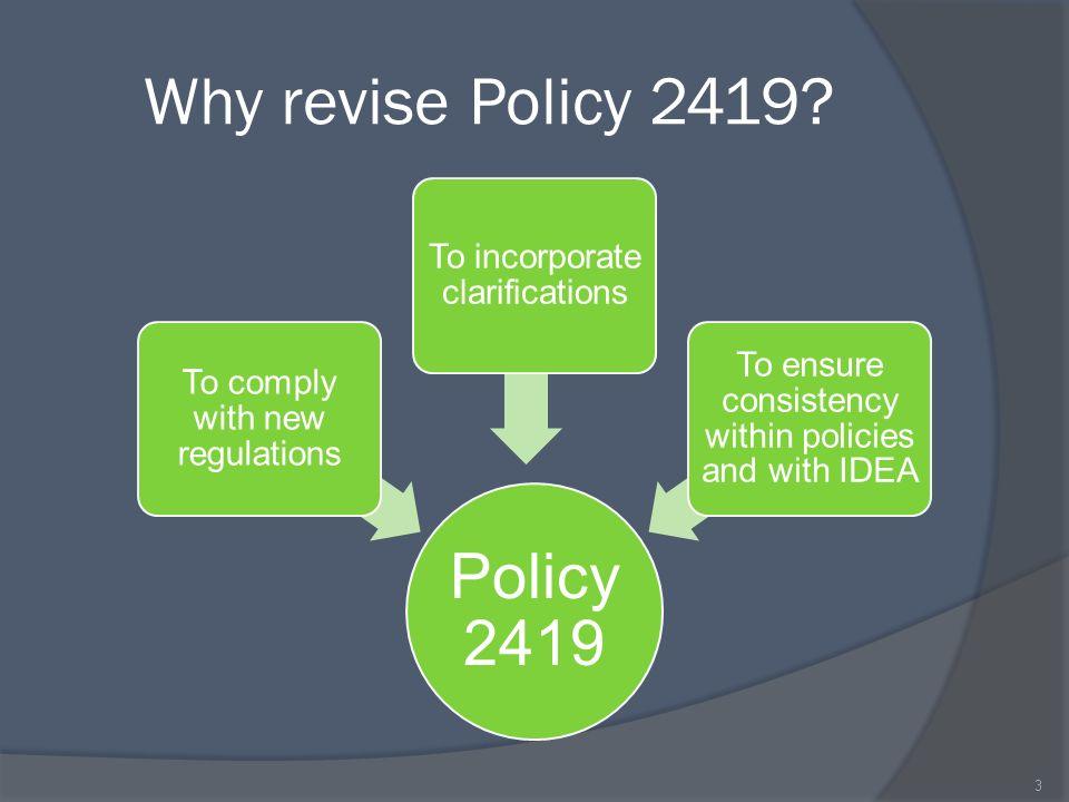 Why revise Policy 2419.