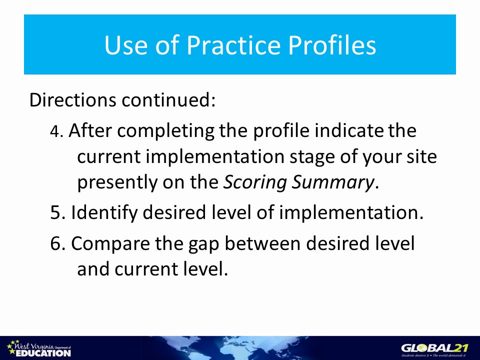 Use of Practice Profiles Directions continued: 4.