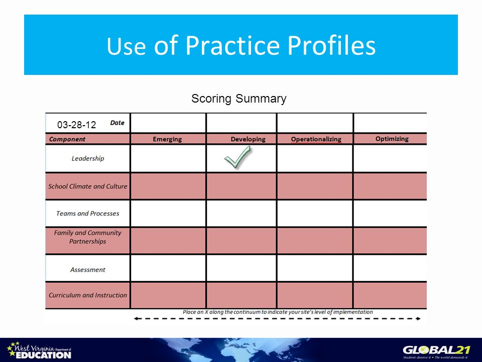 Use of Practice Profiles Scoring Summary
