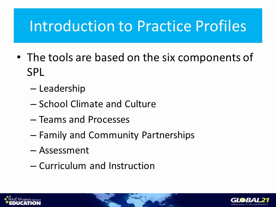 Introduction to Practice Profiles The tools are based on the six components of SPL – Leadership – School Climate and Culture – Teams and Processes – Family and Community Partnerships – Assessment – Curriculum and Instruction