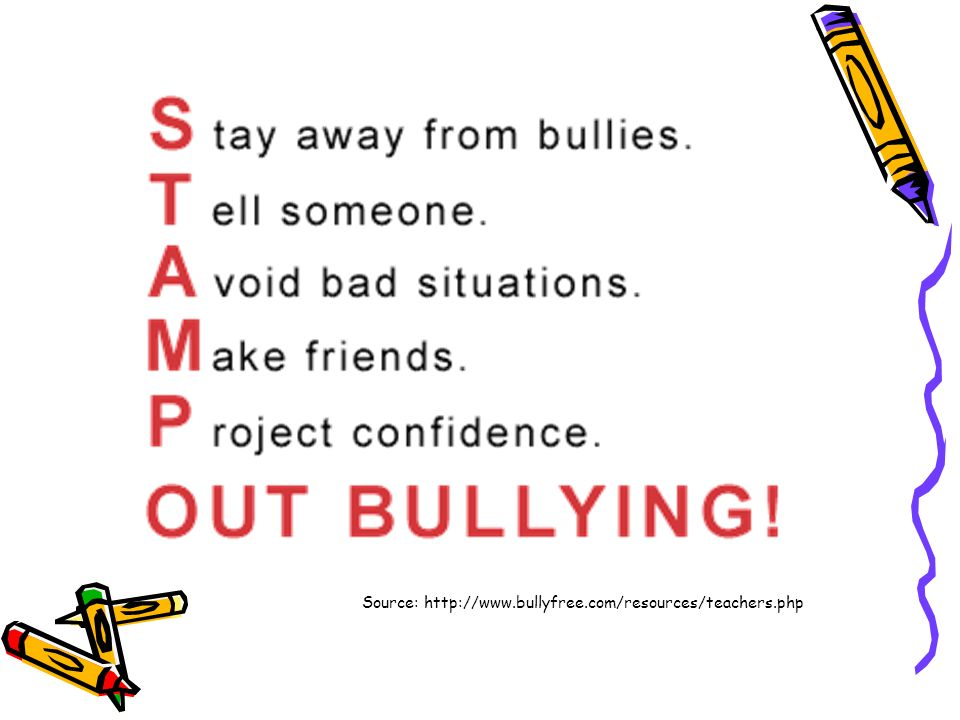 Source: http://www.bullyfree.com/resources/teachers.php
