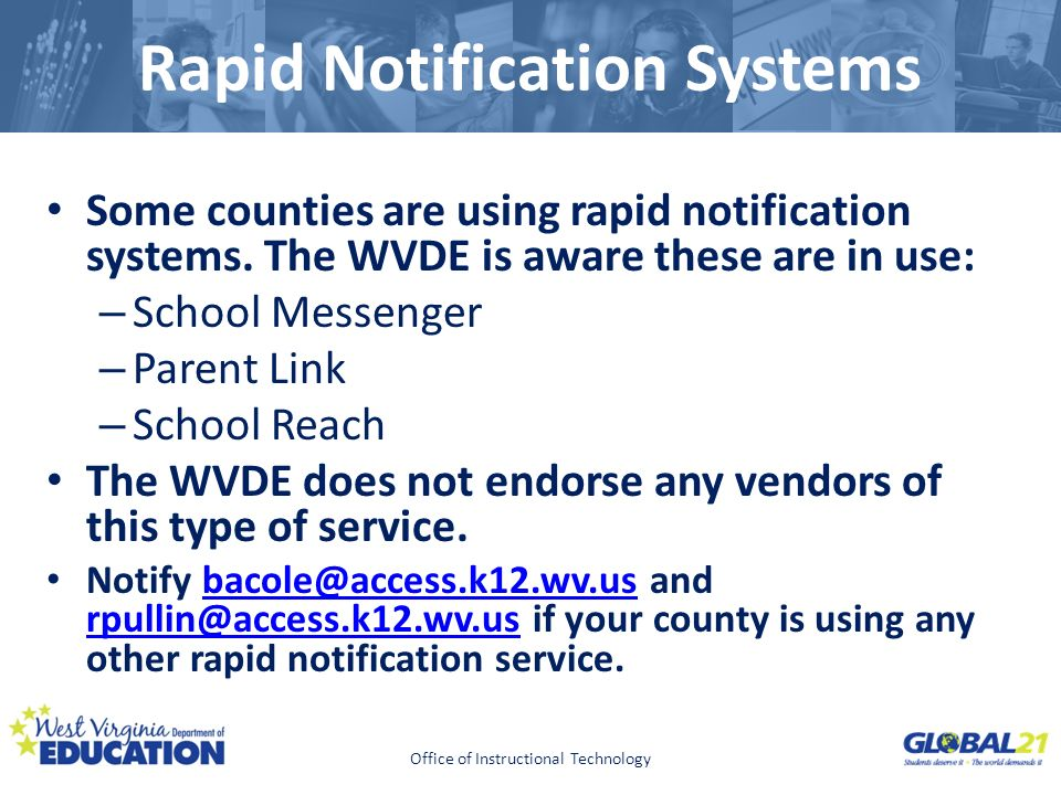 Click to edit Master title style Rapid Notification Systems Some counties are using rapid notification systems.