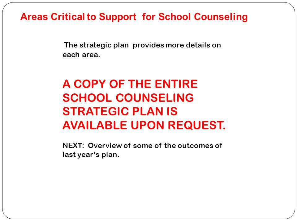 Areas Critical to Support for School Counseling The strategic plan provides more details on each area.
