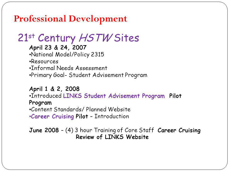 21 st Century HSTW Sites April 23 & 24, 2007 National Model/Policy 2315 Resources Informal Needs Assessment Primary Goal- Student Advisement Program April 1 & 2, 2008 Introduced LINKS Student Advisement Program Pilot Program Content Standards/ Planned Website Career Cruising Pilot – Introduction June 2008 – (4) 3 hour Training of Core Staff Career Cruising Review of LINKS Website