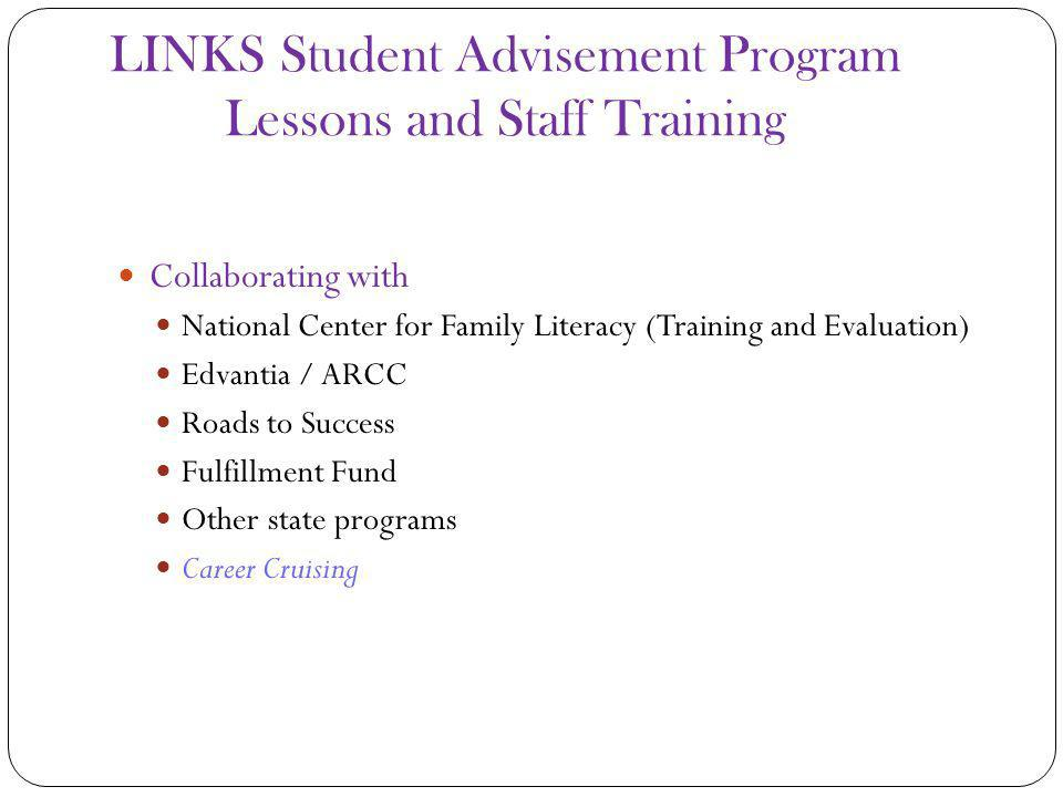 LINKS Student Advisement Program Lessons and Staff Training Collaborating with National Center for Family Literacy (Training and Evaluation) Edvantia / ARCC Roads to Success Fulfillment Fund Other state programs Career Cruising