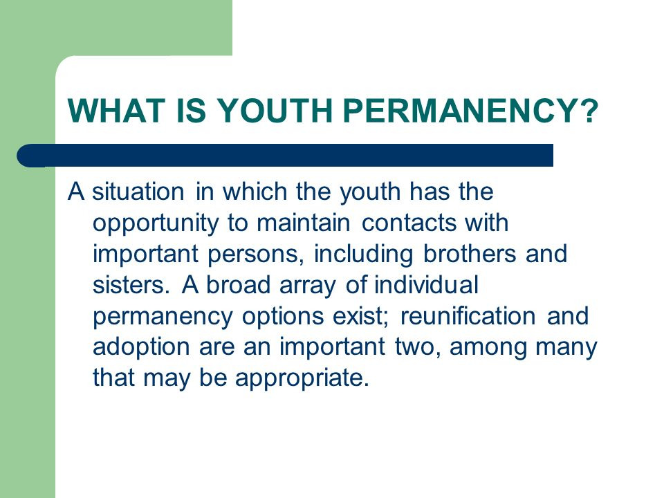 WHAT IS YOUTH PERMANENCY.