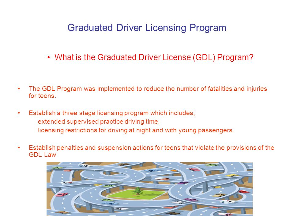 Graduated Driver Licensing Program What is the Graduated Driver License (GDL) Program.
