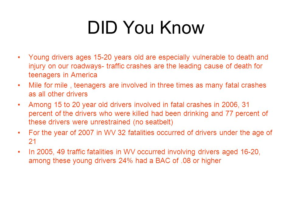 DID You Know Young drivers ages 15-20 years old are especially vulnerable to death and injury on our roadways- traffic crashes are the leading cause of death for teenagers in America Mile for mile, teenagers are involved in three times as many fatal crashes as all other drivers Among 15 to 20 year old drivers involved in fatal crashes in 2006, 31 percent of the drivers who were killed had been drinking and 77 percent of these drivers were unrestrained (no seatbelt) For the year of 2007 in WV 32 fatalities occurred of drivers under the age of 21 In 2005, 49 traffic fatalities in WV occurred involving drivers aged 16-20, among these young drivers 24% had a BAC of.08 or higher