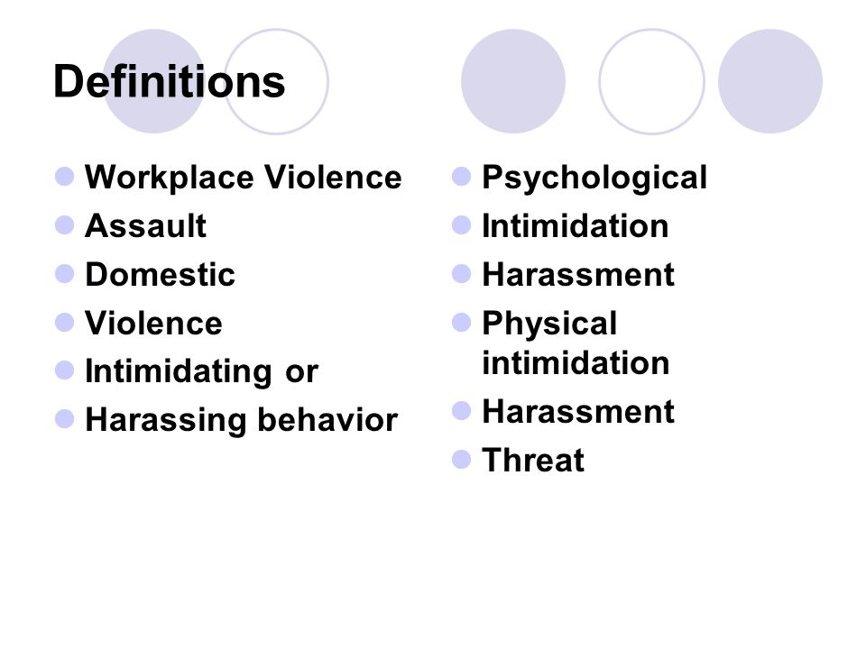 Definitions Workplace Violence Assault Domestic Violence Intimidating or Harassing behavior Psychological Intimidation Harassment Physical intimidation Harassment Threat