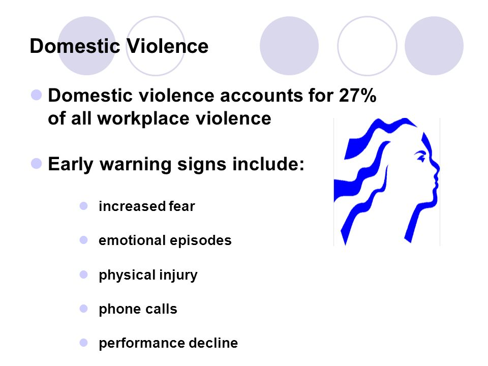 Domestic violence accounts for 27% of all workplace violence Early warning signs include: increased fear emotional episodes physical injury phone calls performance decline