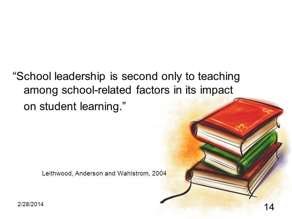 2/28/2014 14 School leadership is second only to teaching among school-related factors in its impact on student learning.