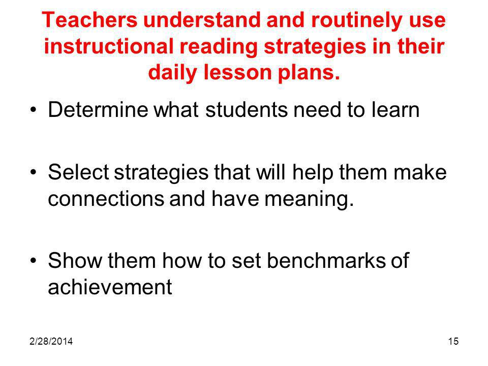 2/28/201415 Teachers understand and routinely use instructional reading strategies in their daily lesson plans.