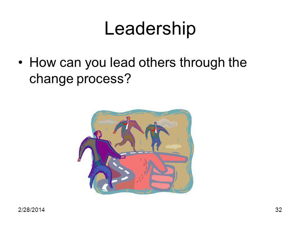 2/28/201432 Leadership How can you lead others through the change process