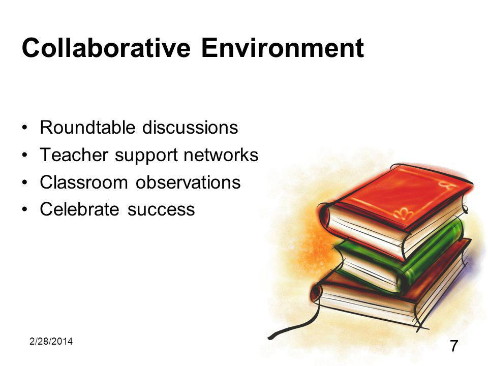 2/28/2014 7 Collaborative Environment Roundtable discussions Teacher support networks Classroom observations Celebrate success