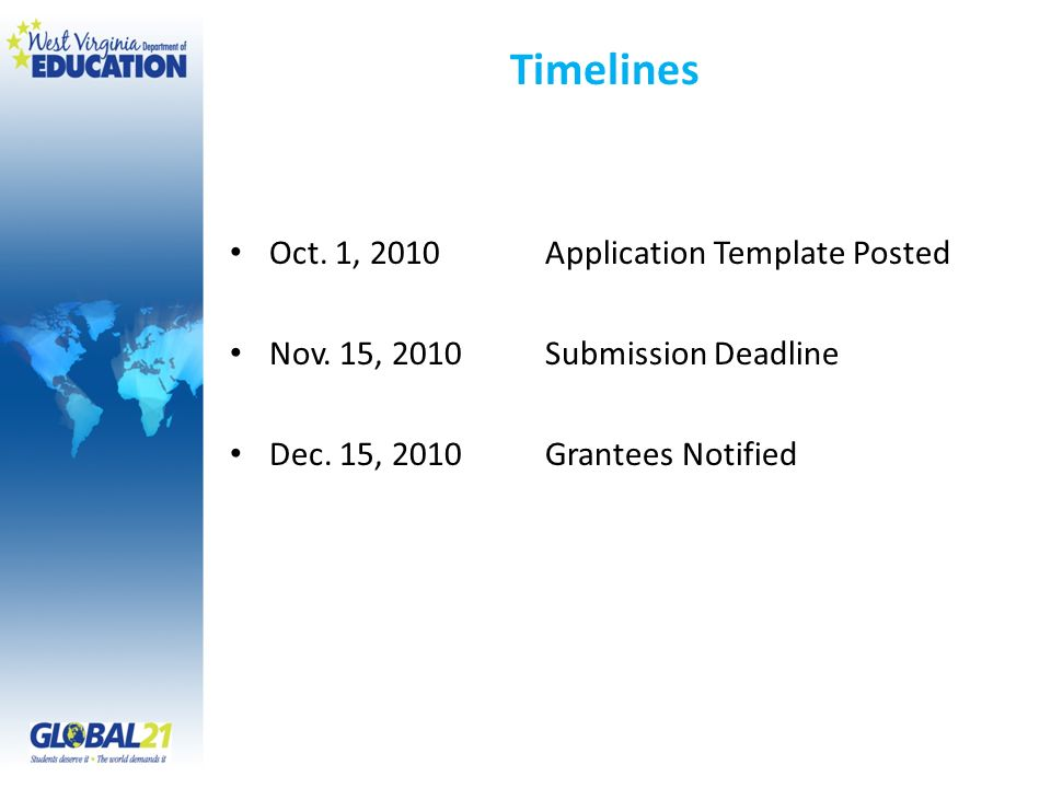 Timelines Oct. 1, 2010Application Template Posted Nov.