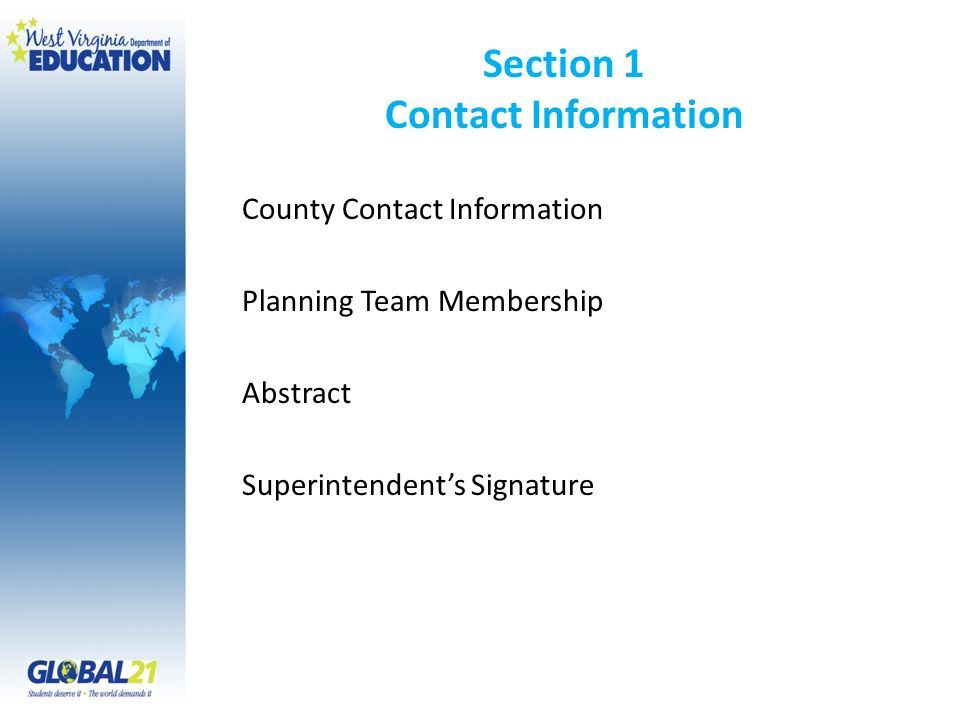 Section 1 Contact Information County Contact Information Planning Team Membership Abstract Superintendents Signature