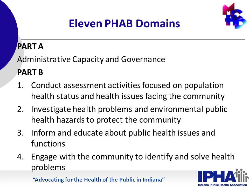 Advocating for the Health of the Public in Indiana Eleven PHAB Domains PART A Administrative Capacity and Governance PART B 1.Conduct assessment activities focused on population health status and health issues facing the community 2.Investigate health problems and environmental public health hazards to protect the community 3.Inform and educate about public health issues and functions 4.Engage with the community to identify and solve health problems