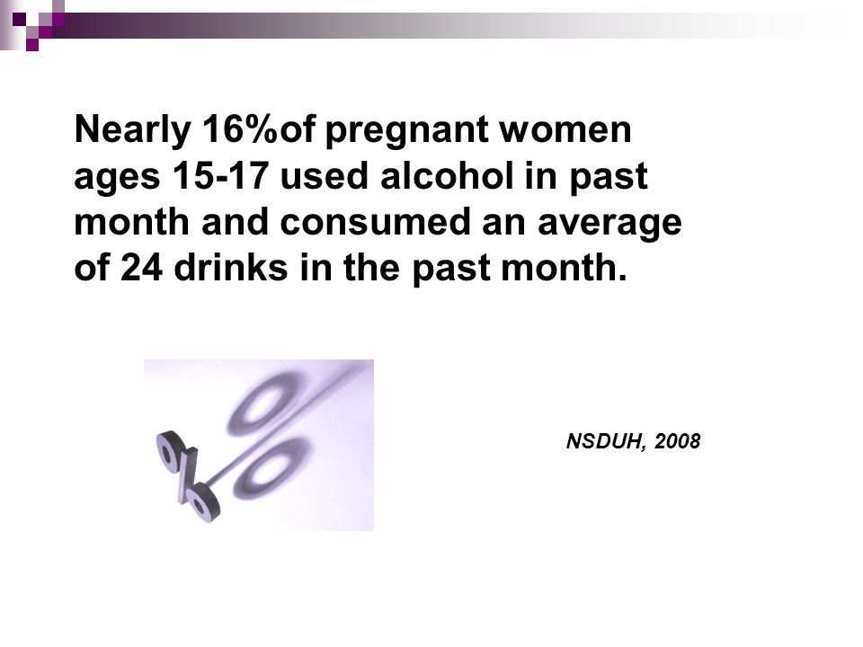 Nearly 16%of pregnant women ages 15-17 used alcohol in past month and consumed an average of 24 drinks in the past month.