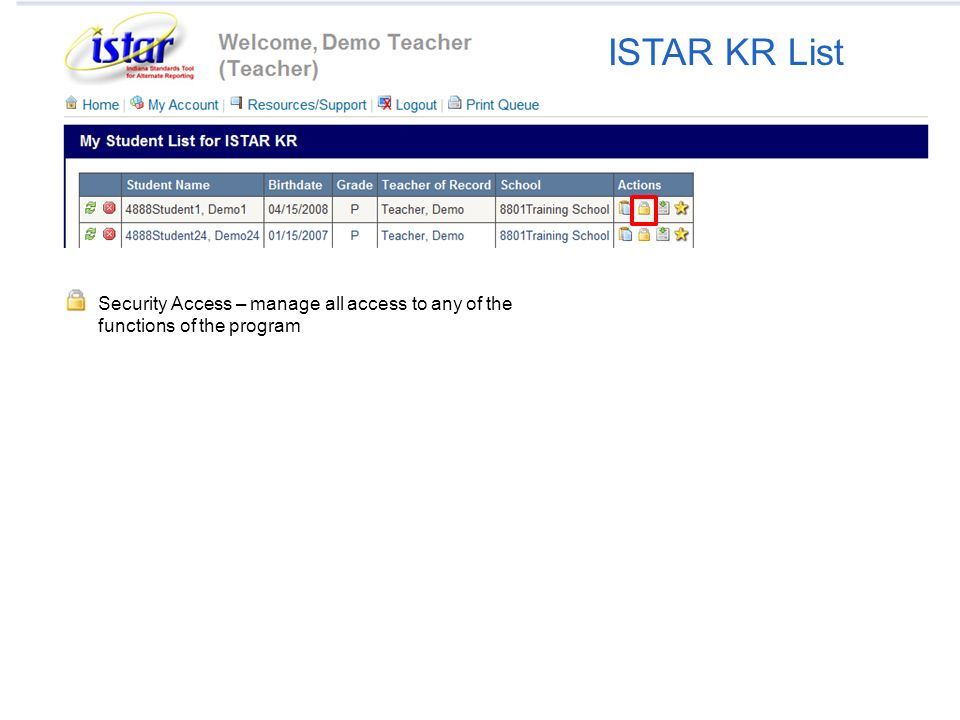 Security Access – manage all access to any of the functions of the program ISTAR KR List
