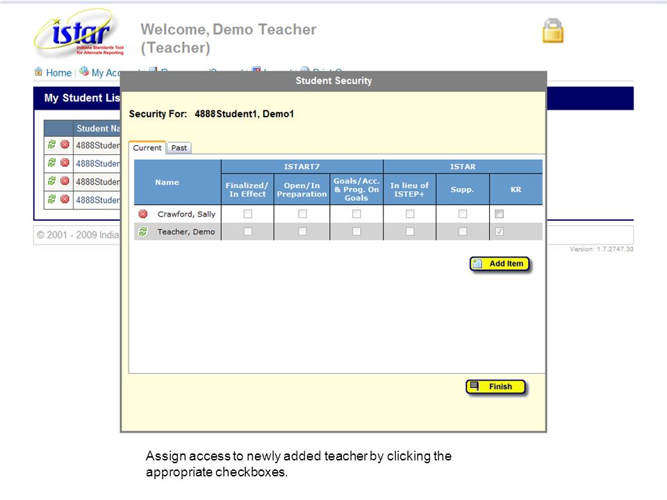 Assign access to newly added teacher by clicking the appropriate checkboxes.