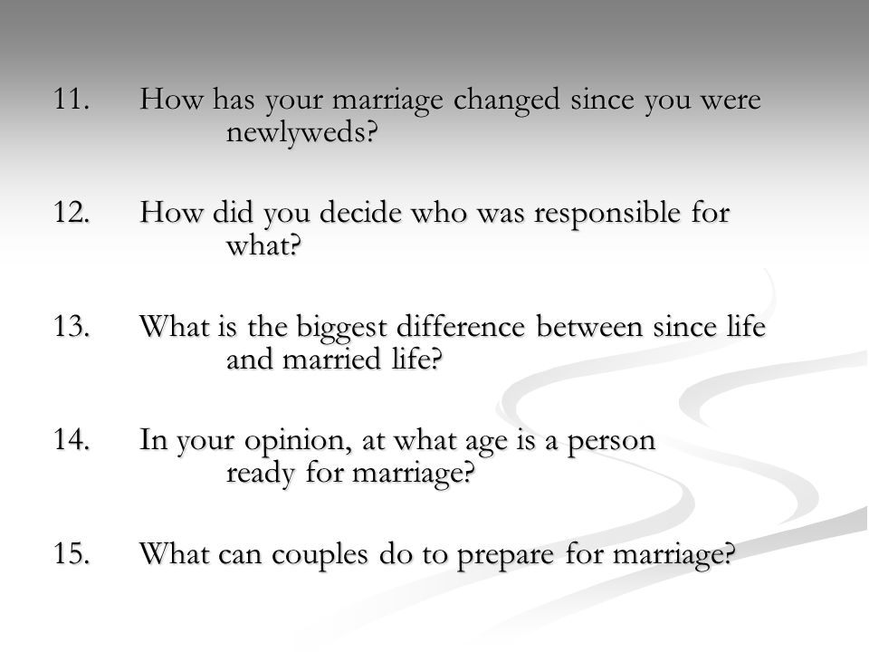 11.How has your marriage changed since you were newlyweds.