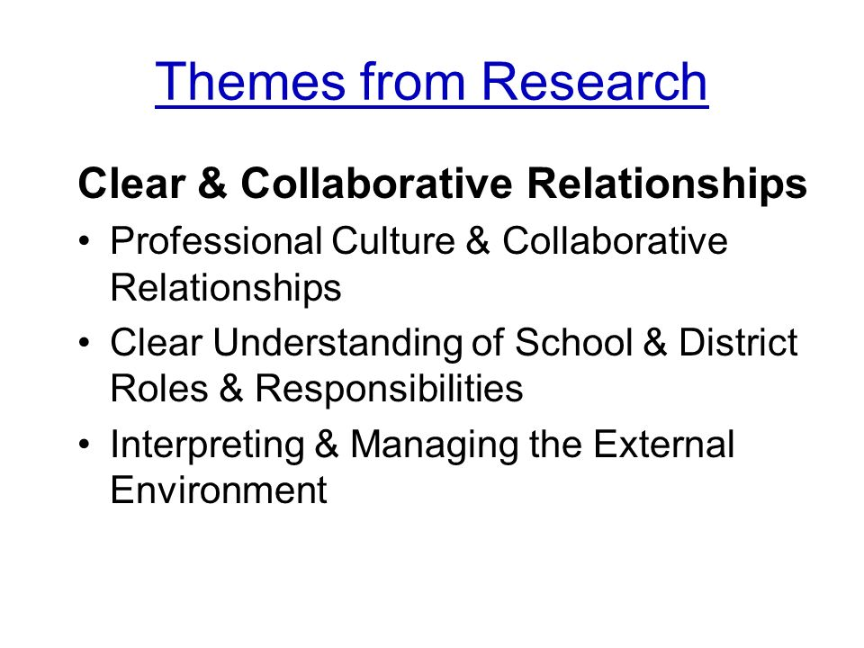Themes from Research Clear & Collaborative Relationships Professional Culture & Collaborative Relationships Clear Understanding of School & District Roles & Responsibilities Interpreting & Managing the External Environment