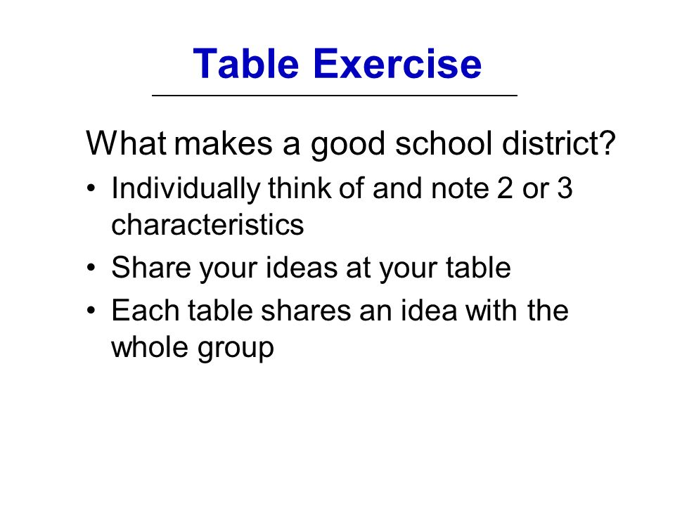 Table Exercise What makes a good school district.