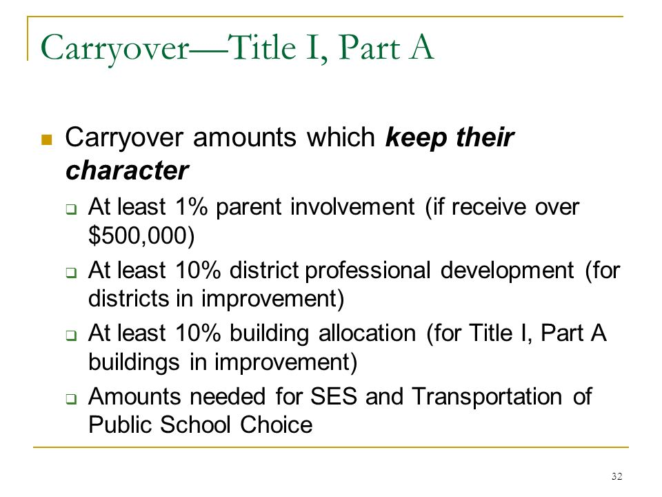 CarryoverTitle I, Part A Carryover amounts which keep their character At least 1% parent involvement (if receive over $500,000) At least 10% district professional development (for districts in improvement) At least 10% building allocation (for Title I, Part A buildings in improvement) Amounts needed for SES and Transportation of Public School Choice 32