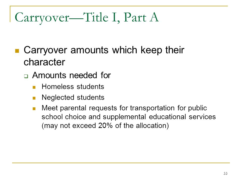 CarryoverTitle I, Part A Carryover amounts which keep their character Amounts needed for Homeless students Neglected students Meet parental requests for transportation for public school choice and supplemental educational services (may not exceed 20% of the allocation) 33