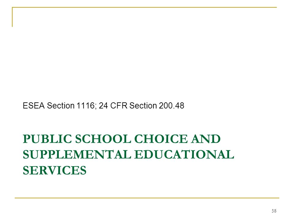 PUBLIC SCHOOL CHOICE AND SUPPLEMENTAL EDUCATIONAL SERVICES ESEA Section 1116; 24 CFR Section 200.48 58