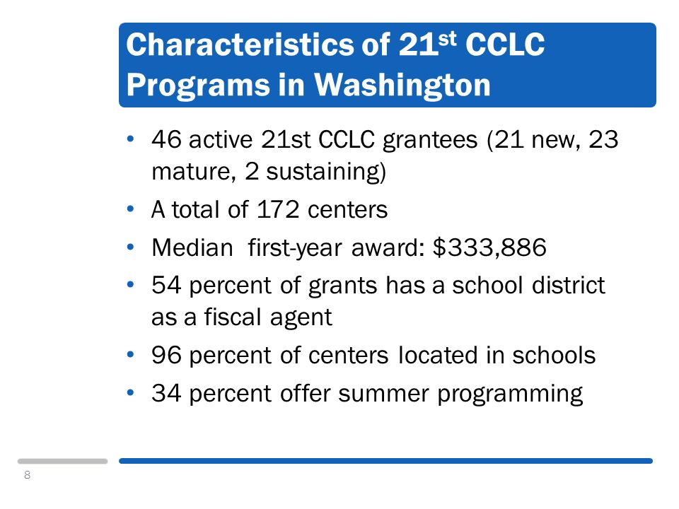 8 Characteristics of 21 st CCLC Programs in Washington 46 active 21st CCLC grantees (21 new, 23 mature, 2 sustaining) A total of 172 centers Median first-year award: $333,886 54 percent of grants has a school district as a fiscal agent 96 percent of centers located in schools 34 percent offer summer programming