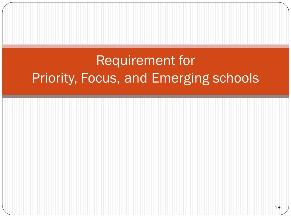 Requirement for Priority, Focus, and Emerging schools 14