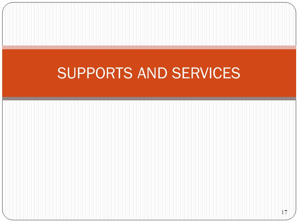 SUPPORTS AND SERVICES 17