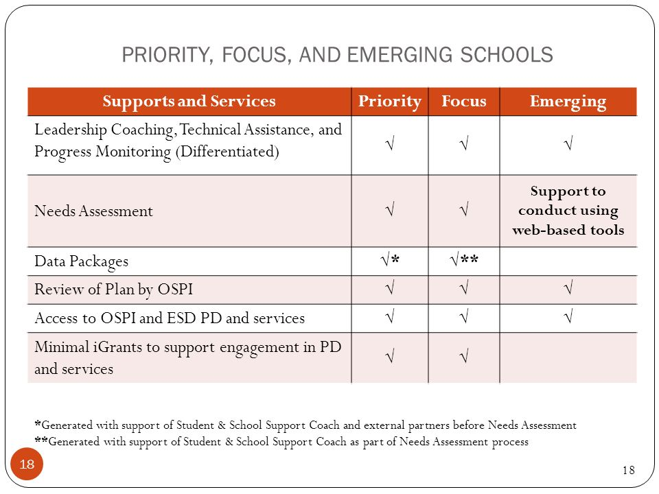 PRIORITY, FOCUS, AND EMERGING SCHOOLS 18 Supports and ServicesPriorityFocusEmerging Leadership Coaching, Technical Assistance, and Progress Monitoring (Differentiated) Needs Assessment Support to conduct using web-based tools Data Packages *** Review of Plan by OSPI Access to OSPI and ESD PD and services Minimal iGrants to support engagement in PD and services *Generated with support of Student & School Support Coach and external partners before Needs Assessment **Generated with support of Student & School Support Coach as part of Needs Assessment process 18