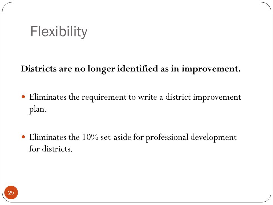 Flexibility Districts are no longer identified as in improvement.