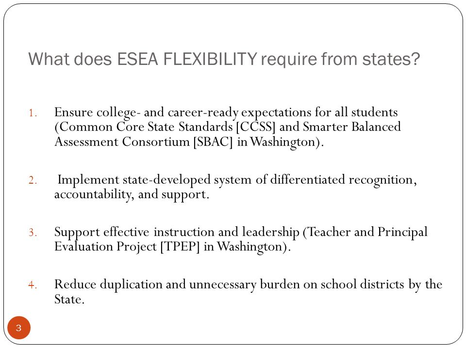 What does ESEA FLEXIBILITY require from states. 1.