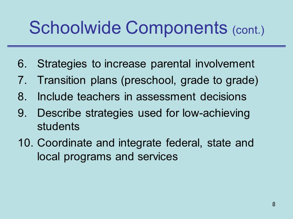 8 Schoolwide Components (cont.) 6.Strategies to increase parental involvement 7.Transition plans (preschool, grade to grade) 8.Include teachers in assessment decisions 9.Describe strategies used for low-achieving students 10.Coordinate and integrate federal, state and local programs and services