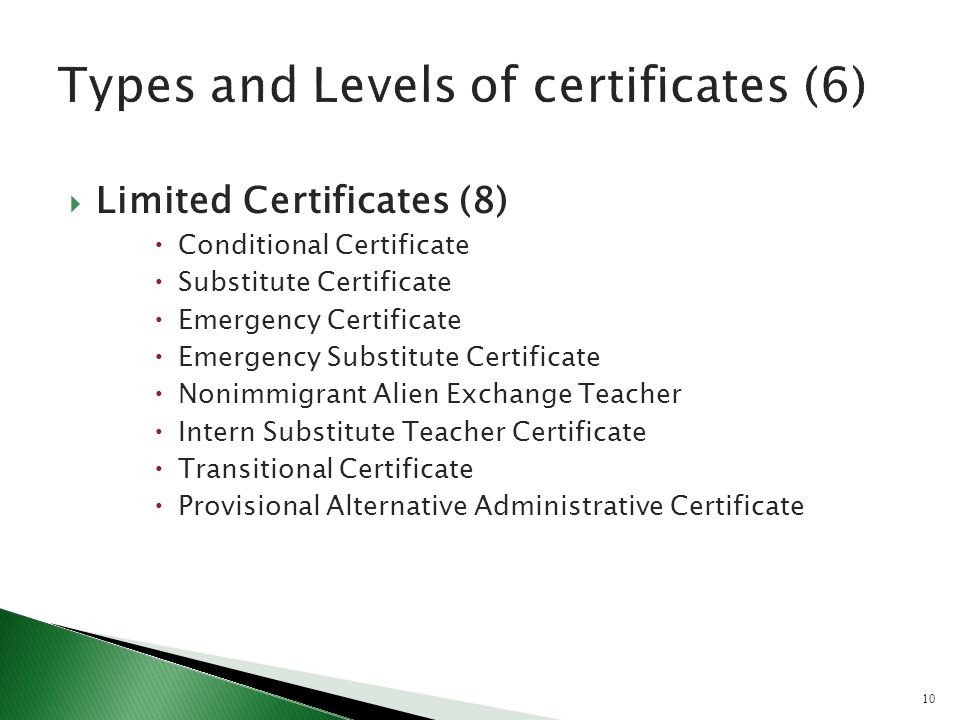 Limited Certificates (8) Conditional Certificate Substitute Certificate Emergency Certificate Emergency Substitute Certificate Nonimmigrant Alien Exchange Teacher Intern Substitute Teacher Certificate Transitional Certificate Provisional Alternative Administrative Certificate 10