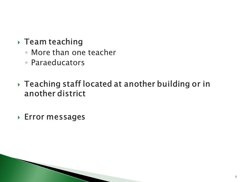 Team teaching More than one teacher Paraeducators Teaching staff located at another building or in another district Error messages 6