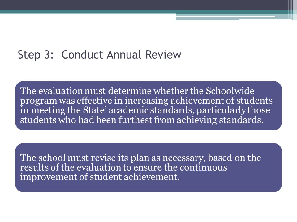Step 3: Conduct Annual Review The evaluation must determine whether the Schoolwide program was effective in increasing achievement of students in meeting the State academic standards, particularly those students who had been furthest from achieving standards.