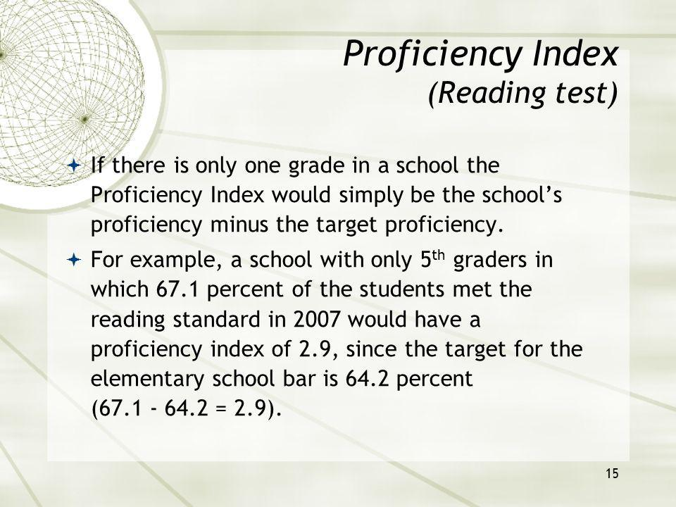 15 If there is only one grade in a school the Proficiency Index would simply be the schools proficiency minus the target proficiency.