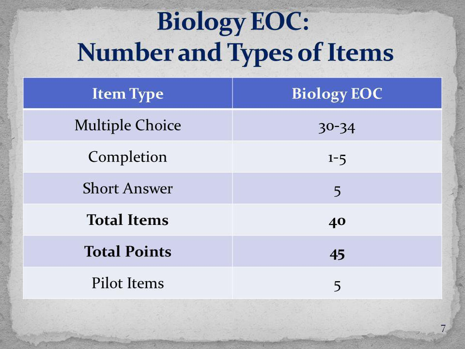 Item TypeBiology EOC Multiple Choice30-34 Completion1-5 Short Answer5 Total Items40 Total Points45 Pilot Items5 7
