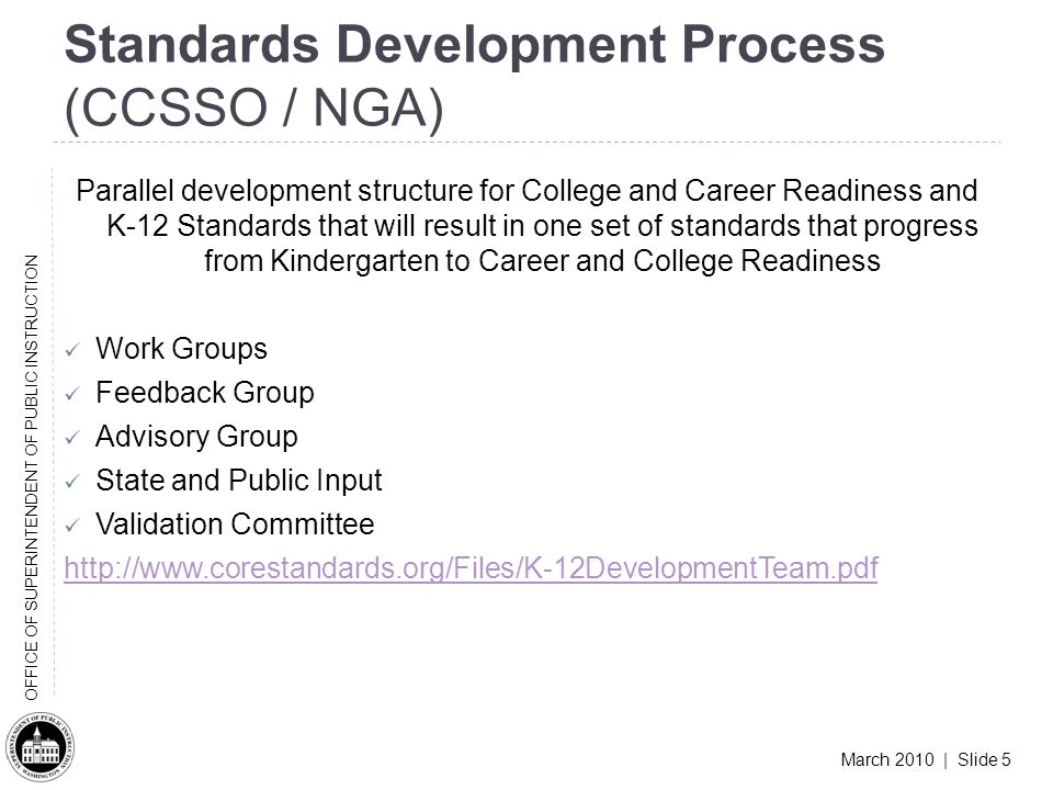 March 2010 | Slide 5 OFFICE OF SUPERINTENDENT OF PUBLIC INSTRUCTION Standards Development Process (CCSSO / NGA) Parallel development structure for College and Career Readiness and K-12 Standards that will result in one set of standards that progress from Kindergarten to Career and College Readiness Work Groups Feedback Group Advisory Group State and Public Input Validation Committee http://www.corestandards.org/Files/K-12DevelopmentTeam.pdf