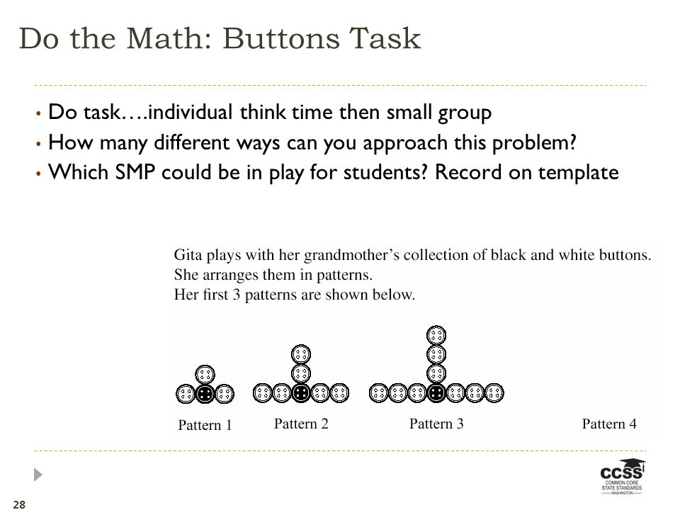 Do task….individual think time then small group How many different ways can you approach this problem.