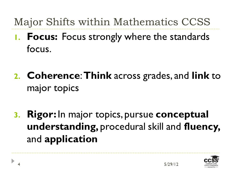 Major Shifts within Mathematics CCSS 1. Focus: Focus strongly where the standards focus.