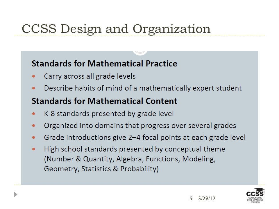 CCSS Design and Organization 95/29/12